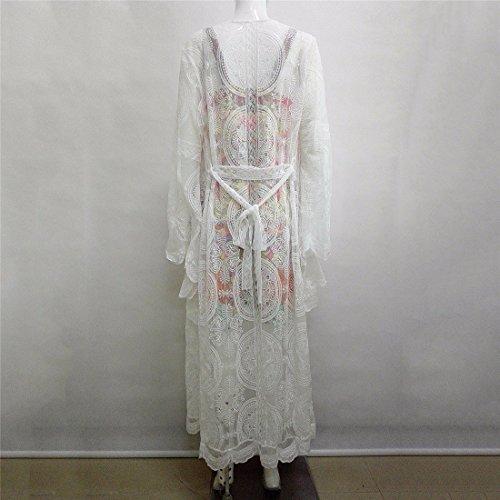 Qiyunz Frauen Weiße Spitze Strickjacke Lässig Böhmischen Stil Häkeln