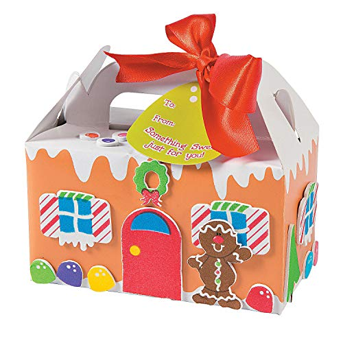 Fun Express - Gingerbread Treat Box Kids Craft Kit for Christmas - Craft Kits - Home Decor Craft Kits - Containers - Christmas - 12 - Kids Crafts Gingerbread For