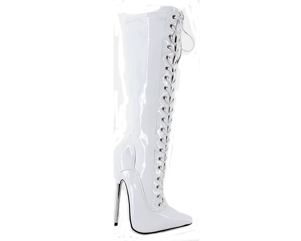 - BitterMoonHeel APPR.7 Metal Heel Pointed Toe lace up Knee high Boots White Shiny