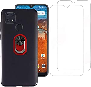 Tznzxm ZTE ZMax 10/ ZTE Z6250 Ring Case with Tempered Glass Screen Protector [2 Pack], Flexible Soft TPU Kickstand, Support Magnetic Car Mount Scratch Resistant Non-Slip Phone Case for ZTE ZMax 10