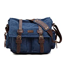 Kattee Classic Military Canvas Shoulder Messenger Bag Leather Straps Fit 16 inch Laptop (Blue)