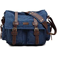 Kattee Mens Canvas Leather DSLR SLR Vintage Camera Messenger Bag