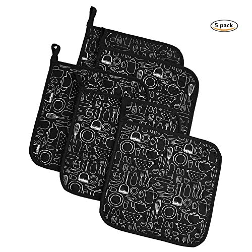 - Jennice House Potholders Trivets Kitchen Heat Resistant Cotton Coasters Hot Pads Pot Holders Set of 5 for Everyday Cooking and Baking by 8 x 8Inch (Black)