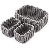 EZOWare Set of 3 Decorative Woven Cotton Rope Baskets and Storage Organizer, Perfect for Storing Small Household Items - Gray