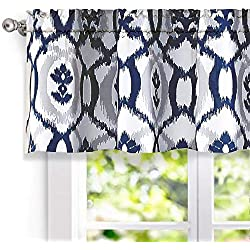 "DriftAway Evelyn Ikat fleur/Floral Pattern Window Curtain Valance, 52""x18""(Navy Blue)"