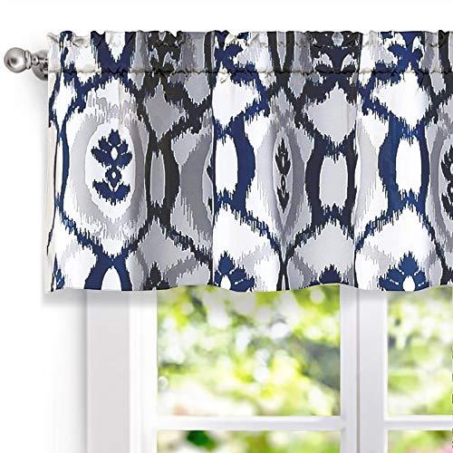 "DriftAway Evelyn Ikat fleur/Floral Pattern Window Curtain Valance, 52""x18""(Navy Blue)"
