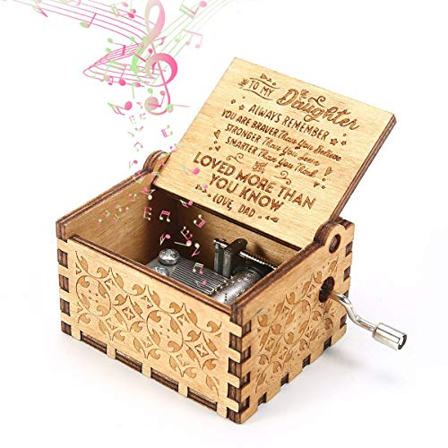 Womdee Music Box, You are My Sunshine for Daughter from Dad Theme, Wooden Classic Music Box Crafts with Hand Crank, 18 Note Mechanism Antique Carved Musical Box Gifts for Kids -