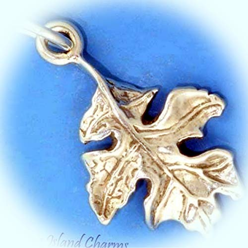 Oak Tree Leaf .925 Solid Sterling Silver Charm Pendant Vintage Crafting Pendant Jewelry Making Supplies - DIY for Necklace Bracelet Accessories by CharmingSS