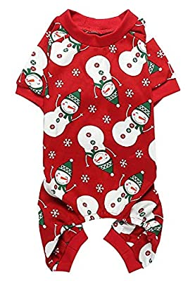 Lanyarco Lovely Small Pet Dogs Pajamas Clothes 100% Cotton Snowman Snowflake Red