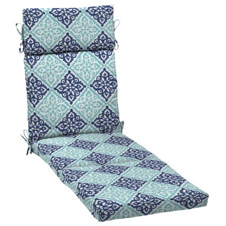 Better Homes and Gardens.. Outdoor Patio Chaise Lounge Cushion (Blue Medallion) ()