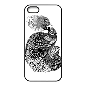 Black and White Peacock Protective Rubber Printed Cover Case for iPhone 5,iPhone 5s Cases