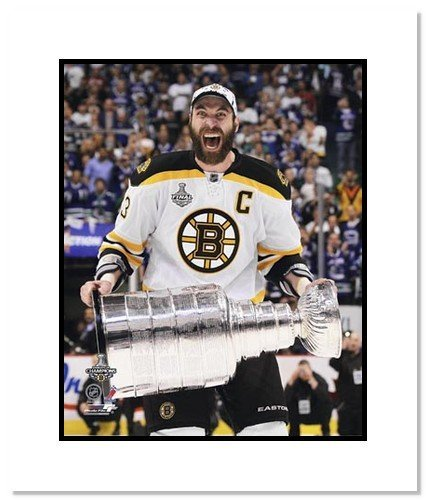 All About Autographs AAA-11599m Zdeno Chara Boston Bruins NHL Double Matted 8x10 Photograph Stanley Cup Champs with Cup