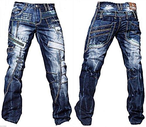 Kosmo Lupo Herren Jeans Hose Verwaschen Vintage Nieten Clubwear Denim 261 >