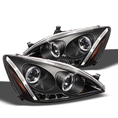 (Xtune 2003-2007 Honda Accord Dual Halo LED Projector Headlights Black Head Lights Lamp Pair Left+Right 2004 2005 2006)