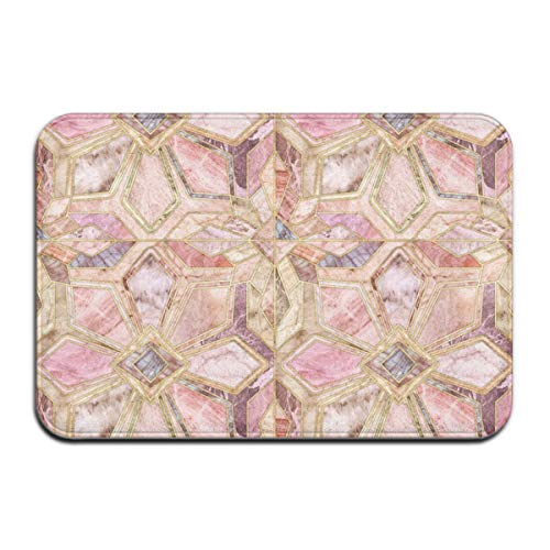 Luase Geometric Gilded Stone Tiles in Blush Pink Peach and Coral Doormat Floor Mat with Non-Slip Backing Bath Mat Rug Funny Home Decor Rug Carpets 23.6 x 15.7 Inches