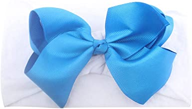 INFANT HEADBAND BABY TEAL BLUE WHITE CHEVRON KNOTTED BOW HEADBAND TODDLER