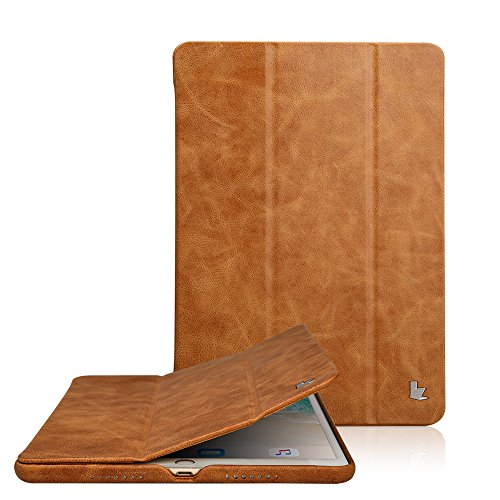 (Jisoncase Classic Series Apple New iPad Pro 10.5 Case Vintage Genuine Leather Smart Cover Magnetic Flip Case with Auto- wake/ Sleep Function, Brown ( JS-PRO-20A20))