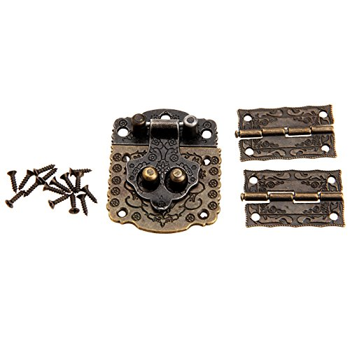 Dophee Decorative Wood Case Box Antique Embossing Hasp Latch Lock with Mini Hinge and ()
