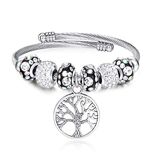(Life Tree Beaded Bracelet Bangle Jewelry Adjustable Stainless Steel Fashion Pendant Bracelet for Teen Girls Women(Tree of Life) )