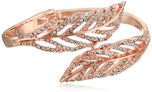 Crystal Feather Bypass Hinged Bracelet