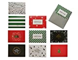 JINSRAY 45 Pack Assorted Merry Christmas Happy New Year Cards, Thank You Note Cards X-MAX Gift Or Exchange Card Project, Bulk Box Set - 9 Designs Blank Inside with Premium Envelopes - 3 x 4 Inches