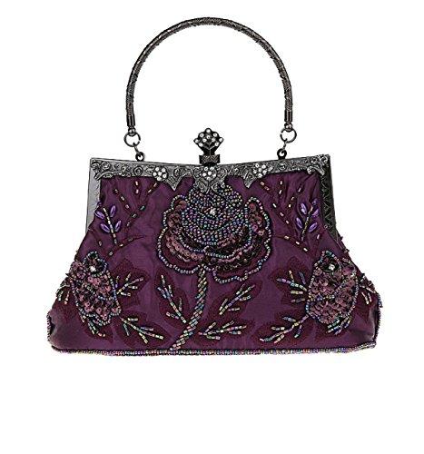 Sra. De Cuentas De Flores Bolsa De Mano Retro De Banquetes Purple