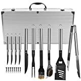 BBQ Grilling Tool Kit, 19 Piece Stainless Steel Summer Barbecue Grill Utensil Set with Carrying Case by Chef Buddy