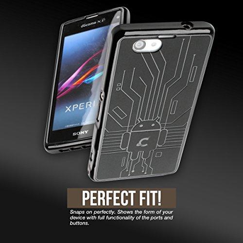 Z1 Compact Case, Cruzerlite Bugdroid Circuit TPU Case Compatible for Sony Xperia Z1 Compact (Z1F) - Black
