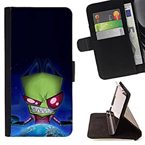 For HTC One M8 Funny Evil Space Alien Beautiful Print Wallet Leather Case Cover With Credit Card Slots And Stand Function
