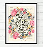 God is within her, She will not fall- Psalm 46:5 ART PRINT, UNFRAMED, Vintage Bible page verse scripture -floral Christian Wall art decor poster, 8x10