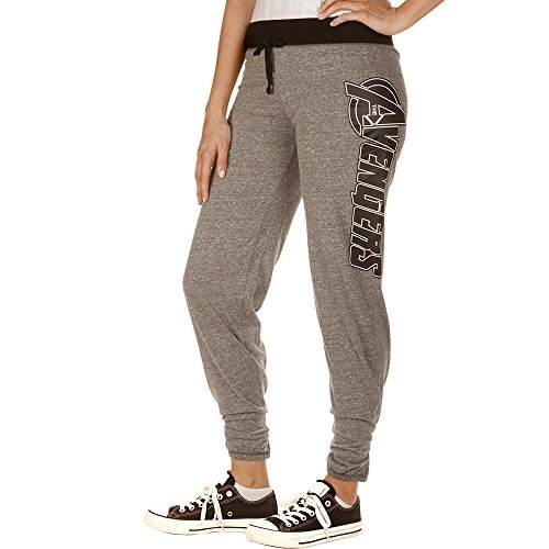 Marvel The Avengers Logo Women's Juniors Fit Jogger Leggings Yoga Lounge Pants Grey-Black (Large) for $<!--$24.99-->