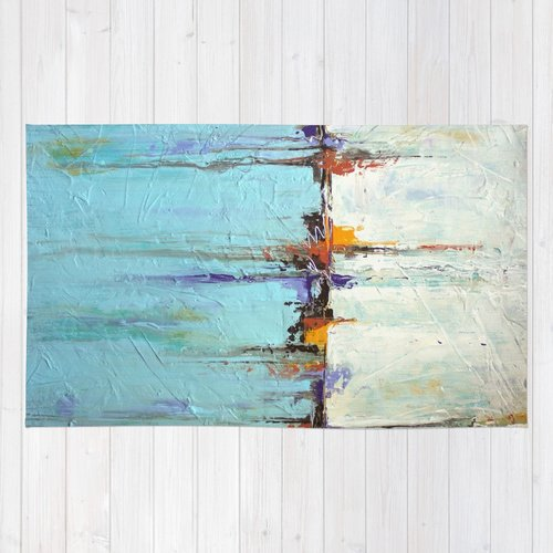 Nautical Area Rug - White and Blue Home Decor– Abstract Seascape