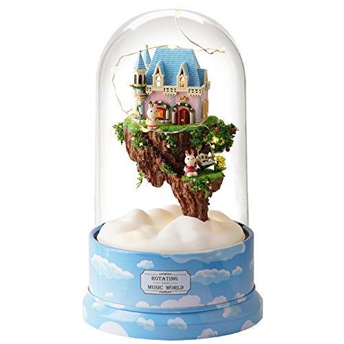 DIY Wooden Miniature Dollhouse Kit--Dream of Sky House Model with dolls //Plastic Cover case//LED Light//Music box Cute Room