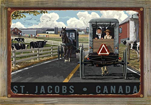 (Northwest Art Mall St. Jacobs Canada Horse & Buggy Rustic Metal Print on Reclaimed Barn Wood by Paul A. Lanquist (12