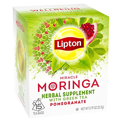 Lipton Herbal Supplement Tea Bags, Miracle Moringa with Green Tea and Pomegranate, 15 ct, Pack of 4