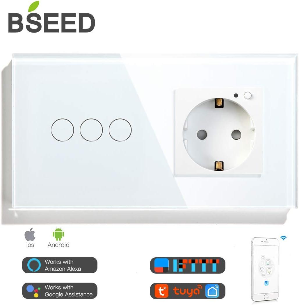 Control de APP 1 Gang 1 Way Interruptor wifi con Doble Enchufe Inteligente 16A Blanco BSEED Interruptor wifi de pared con enchufe Interruptores luz Alexa,Tuya y Google Home