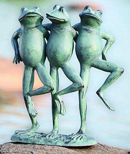 Ebros Aluminum Best Pond Buddies Hand in Hand Dancing Frog Trio Garden Statue 19