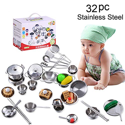 Price comparison product image Kitchen House Toy Set - 32 Pcs Super Durable Stainless Steel Pots and Pans Cookware Pretend Play Set fit Kid Christmas Best Gift - Silver (C)