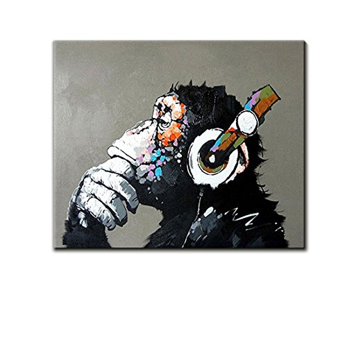 V-inspire Art, 24X32Inch 100% Hand Painted Paintings Listen to Music Gorilla Abstract Art Large Wall Art For Living Room Artwork on Canvas Ready To Hang Framed Art For Bedroom Living Room by V-inspire