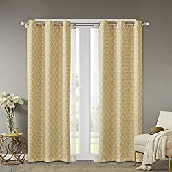 Comfort Spaces - Windsor Yellow Ogee Printed Window Curtain Pair / Set of 2 Panels - 42x95 inch panel - Blackout Room Darkening - Grommet Top - 2 Pieces
