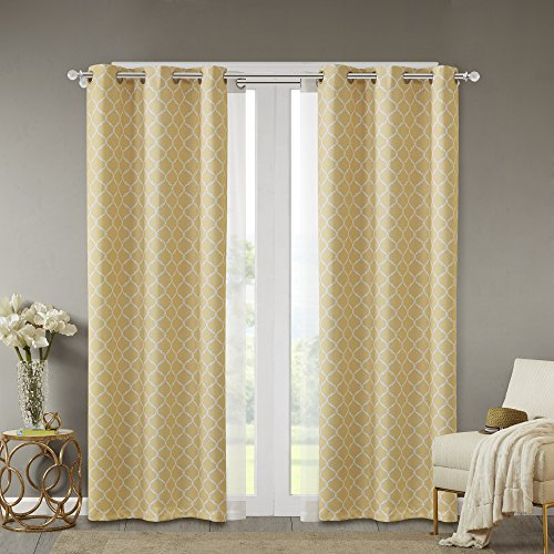 Comfort Spaces - Windsor Yellow Ogee Printed Window Curtain Pair / Set of 2 Panels - 42x108 inch panel - Blackout Room Darkening - Grommet Top - 2 Pieces