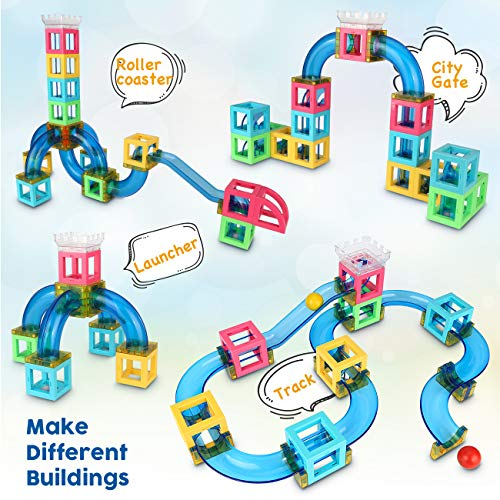 Magnetic Blocks with Marble Run Set Game - 63pcs Marble Maze Race Track Learning Toy for Kids, Construction Child Education Track Building Blocks (Storage Bag and Guidebook Include) by Gamenote (Image #4)