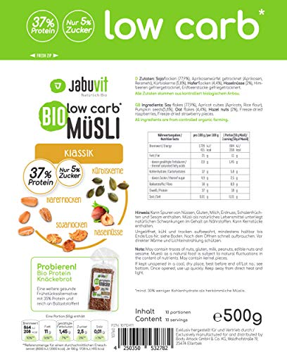 JabuVit - Müsli biologici a basso contenuto di carboidrati e solo circa il 5% di zucchero, 500 g (classico) 4 spesavip