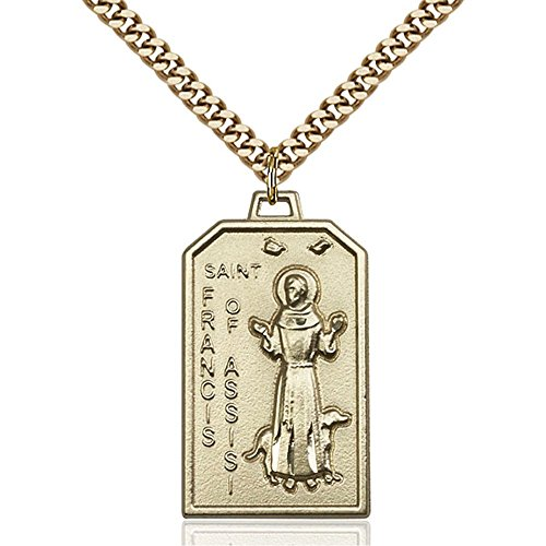 Gold Filled St. Francis Pendant 1 1/8 x 5/8 inches with Heavy Curb Chain by Unknown