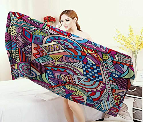 (Anniutwo Psychedelic,Bath Towel,Colorful Funky Art 90s Stained Glass Style Triangle Squares Modern Art Print,Customized Bath Towels,Multicolor Size: W 19.5