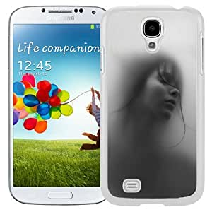 Unique and Fashionable Cell Phone Case Design with Ghostly Foggy Woman Portrait Galaxy S4 Wallpaper in White