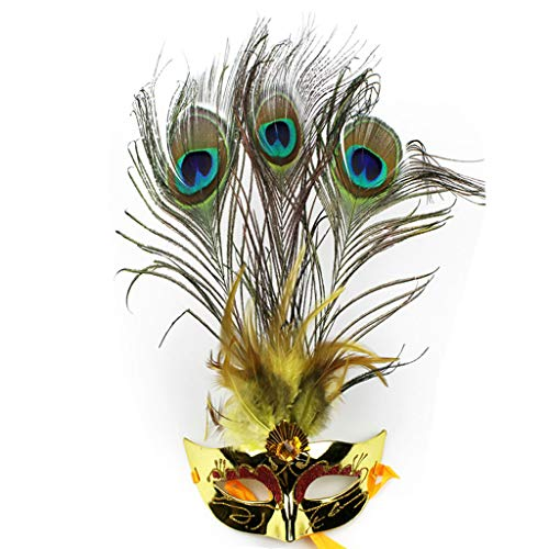 Cat Feather Mask - Liying mask- Party Ball Little Princess mask Catwalk mask Peacock Feather mask (Color : Gold, Size : 17x34cm)