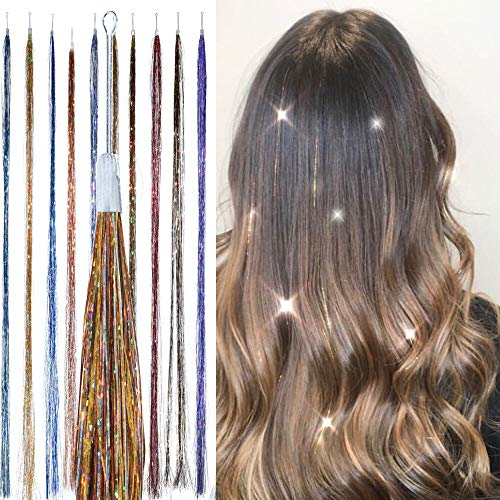 Hair Dazzle Holographic Hair Tinsel Set - Ultimate Fairy Strands Kit - METALS MIX Color Glitter Hair Extensions For Girls - Heat Resistant & Tangle-proof, Long Lasting Women's Sparkle Hair Accessories ()