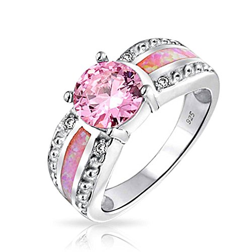 Christmas Gifts Pink Synthetic Opal Inlay October Birthstone Sterling Silver Ring