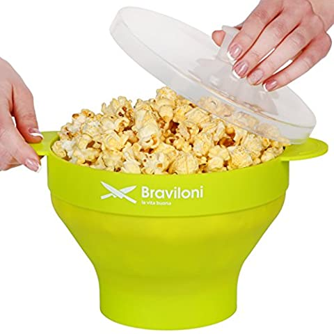 Popcorn Popper - Microwave Popcorn Maker - Collapsible Silicone Bowl with Lid